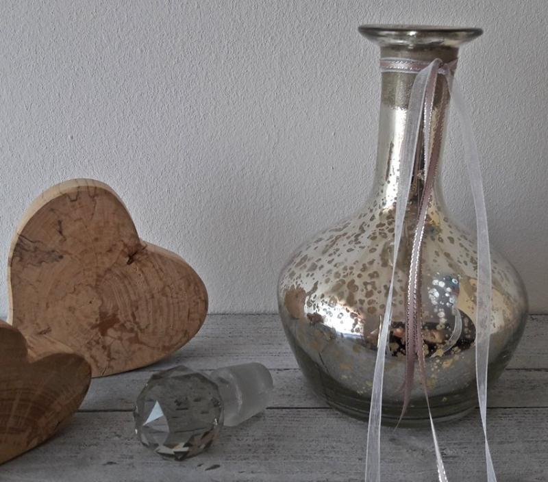 Kleinesbild - Dekorative Glasflasche Bauernsilber Vintage Shabby