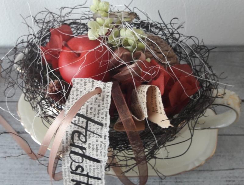 Wunderbar 4484.180731.141330 Tischdeko Tischgesteck Shabby Sauciere Mit  Naturmaterialien