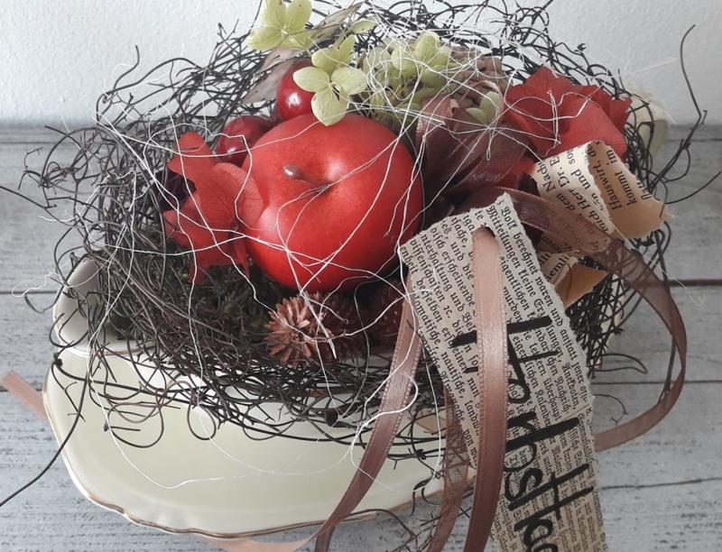 Fantastisch 4484.180731.141330 Tischdeko Tischgesteck Shabby Sauciere Mit  Naturmaterialien