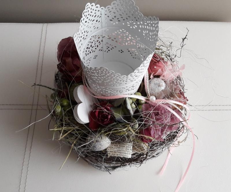 Kleinesbild - Tischdeko Tischgesteck Frühling Windlicht Kranz mit Naturmaterialien