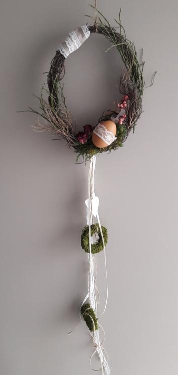 Kleinesbild - Hängedeko Fensterdeko Wohnraumdeko Frühling Rebenkranz mit Ei