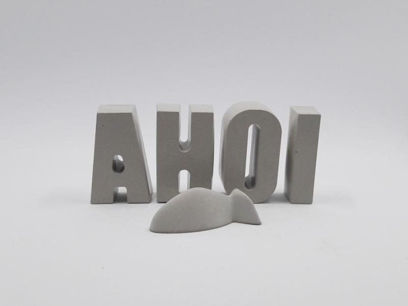 - Schriftzug AHOI und Fisch aus Beton Betonbuchstaben Maritime Wohndekoration - Schriftzug AHOI und Fisch aus Beton Betonbuchstaben Maritime Wohndekoration