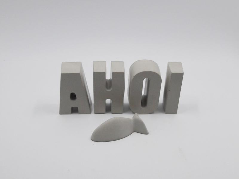 Kleinesbild - Schriftzug AHOI und Fisch aus Beton Betonbuchstaben Maritime Wohndekoration