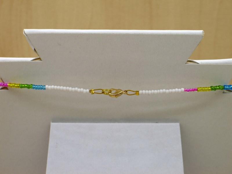 Kleinesbild - Einhorn Kette, Regenbogen aus 2,3mm Rocailles