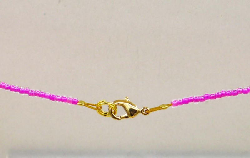 Kleinesbild - Einhorn Kette, pink aus 2,3mm Rocailles