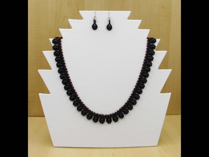 - Tröpfchencollier Set lila-schwarz; Collier + Ohrringe - Tröpfchencollier Set lila-schwarz; Collier + Ohrringe