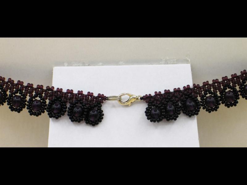 Kleinesbild - Tröpfchencollier Set lila-schwarz; Collier + Ohrringe