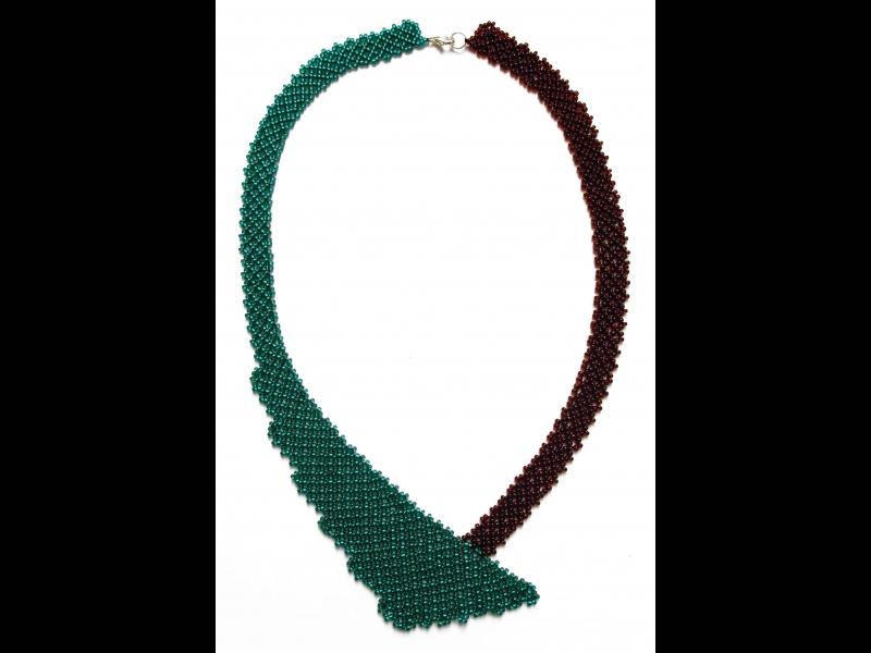 Kleinesbild - Perlen-Netz-Collier asymmetrisch; petrol-braun