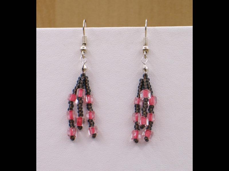 - Ohrringe zu Mäandercollier mit Glascabochon; braun-flamingo - Ohrringe zu Mäandercollier mit Glascabochon; braun-flamingo