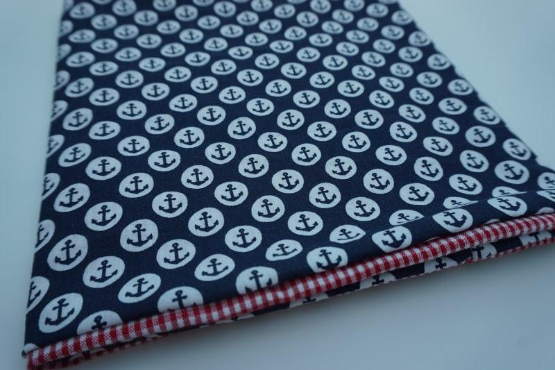- Baumwoll-Loop maritm / sommerlicher Schal mit Ankern und Karos * handgenäht - Baumwoll-Loop maritm / sommerlicher Schal mit Ankern und Karos * handgenäht