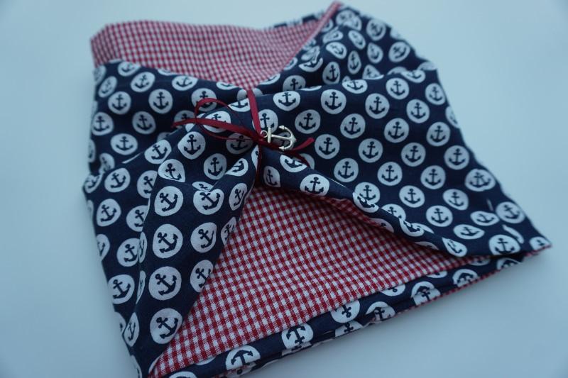 Kleinesbild - Baumwoll-Loop maritm / sommerlicher Schal mit Ankern und Karos * handgenäht