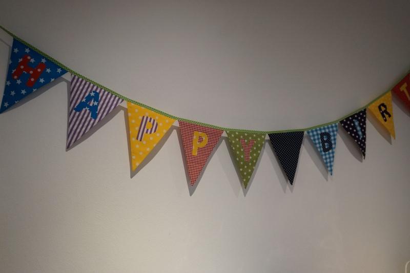 Kleinesbild - Geburtstagsgirlande - Happy Birthday - kunterbunt - Wimpelkette - handgenäht