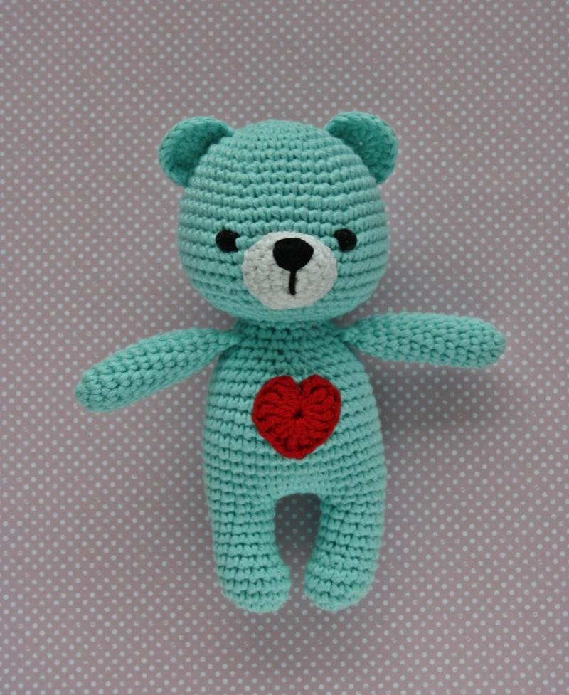 - Häkeltier Teddy Bär Mini helltürkis aus Baumwolle Handarbeit - Häkeltier Teddy Bär Mini helltürkis aus Baumwolle Handarbeit