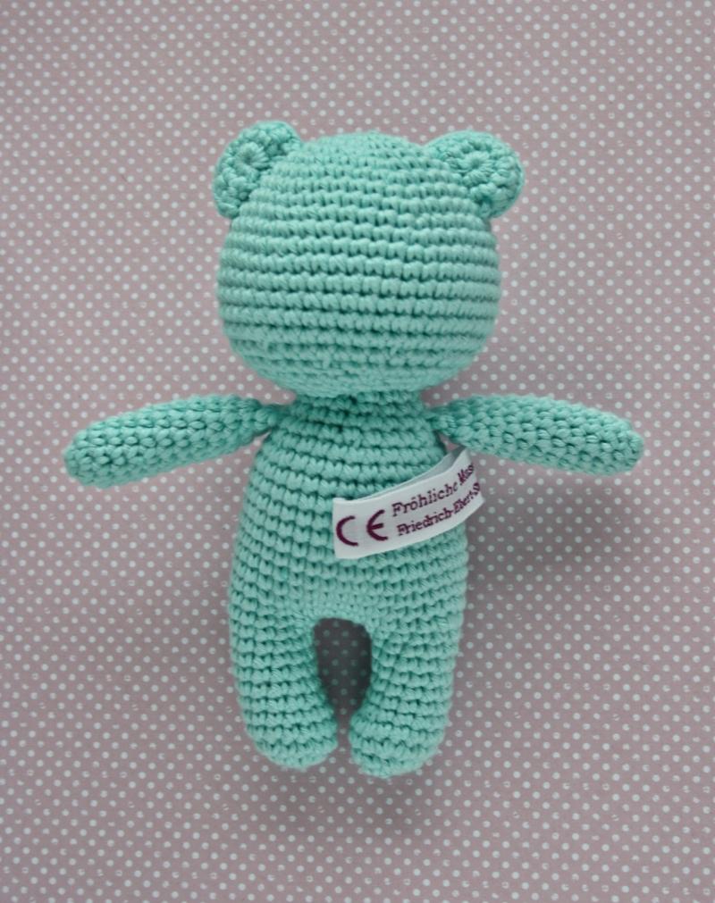 Kleinesbild - Häkeltier Teddy Bär Mini helltürkis aus Baumwolle Handarbeit
