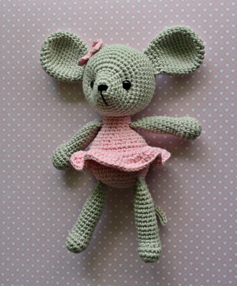 Kleinesbild - Häkelspielzeug Kuscheltier Häkelmaus MÄUSCHEN Ballerina hellgrau/rosa