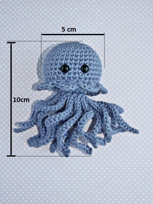 Kleinesbild - Die kleine gehäkelte Meduse aus Bio-Baumwolle  Handarbeit  Farbe: pfirsich