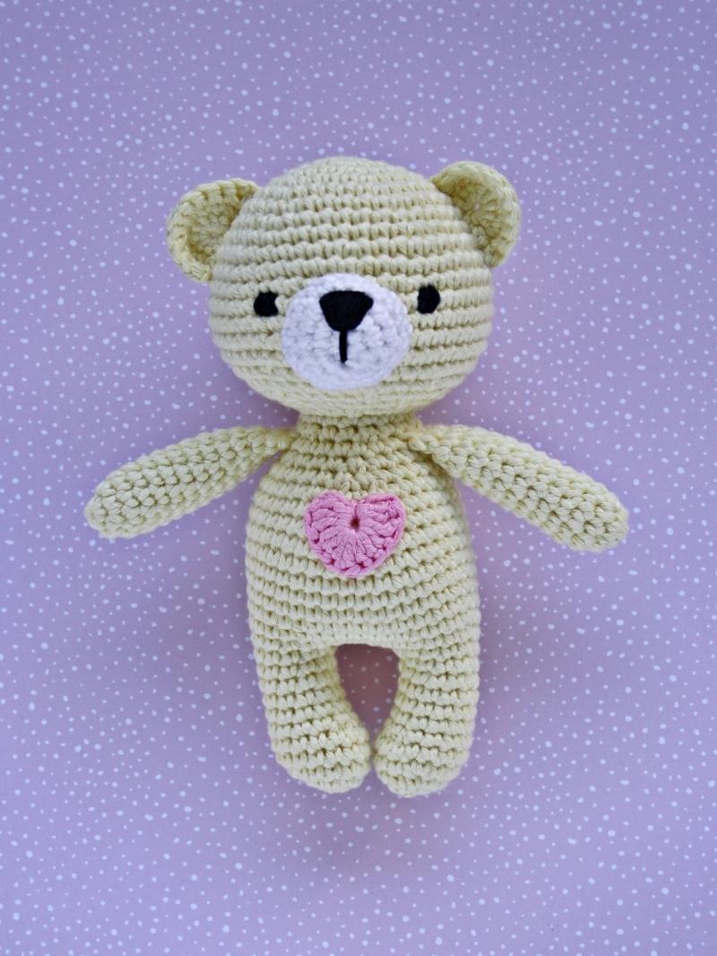- Häkeltier Teddy Bär Mini hellgelb aus Baumwolle Handarbeit - Häkeltier Teddy Bär Mini hellgelb aus Baumwolle Handarbeit