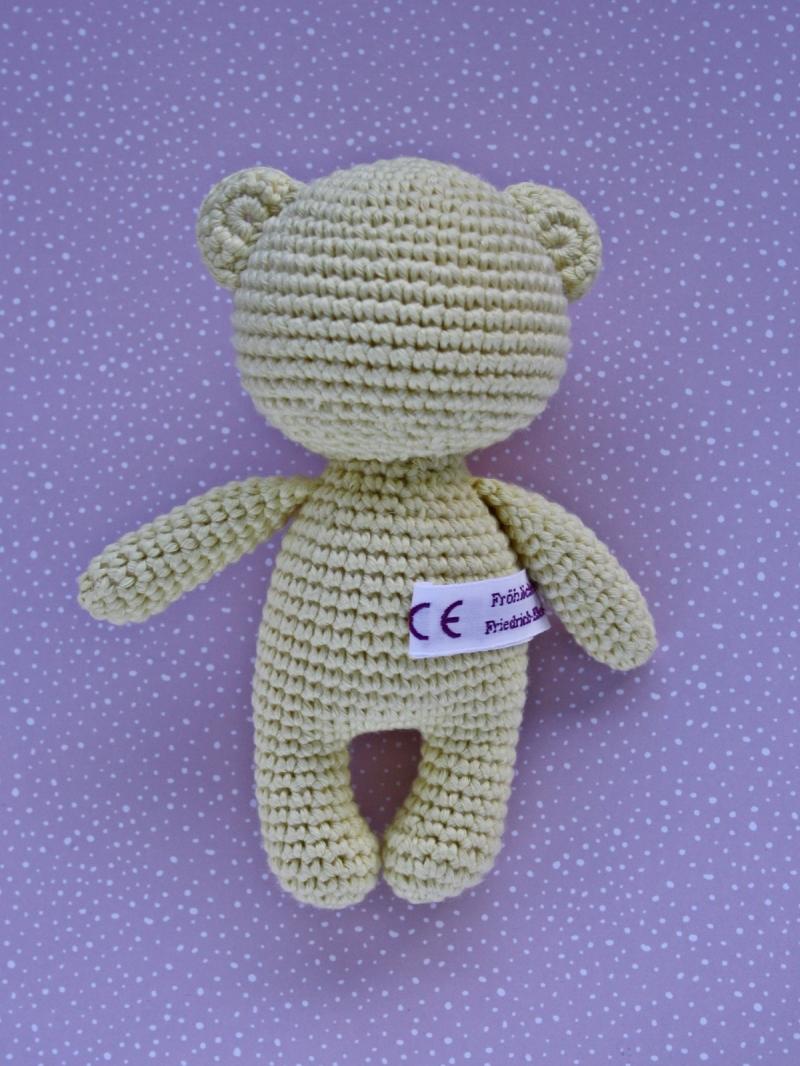 Kleinesbild - Häkeltier Teddy Bär Mini hellgelb aus Baumwolle Handarbeit