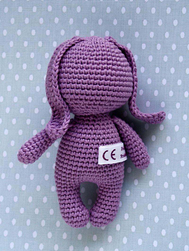 Kleinesbild - Häkeltier Amigurumi  Hase Mini flieder aus Baumwolle Häkelhase handmade