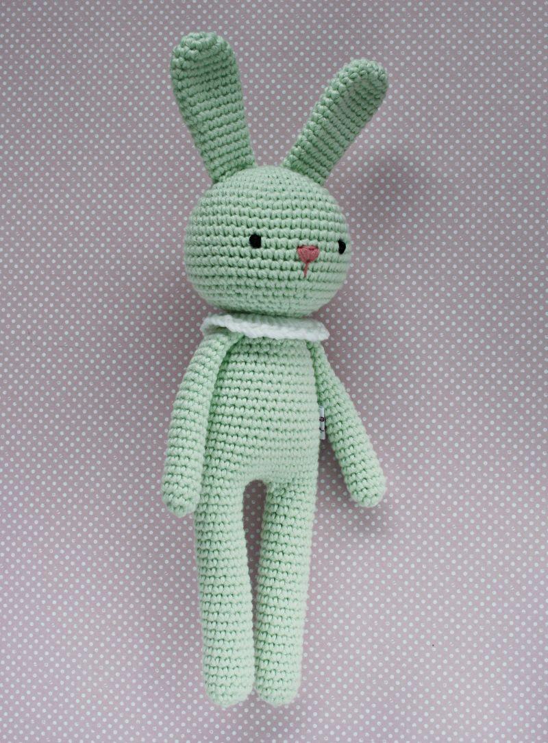 Kleinesbild - Häkeltier Häkelhase aus Bio-Baumwolle in verschiedenen Farben mint Handarbeit