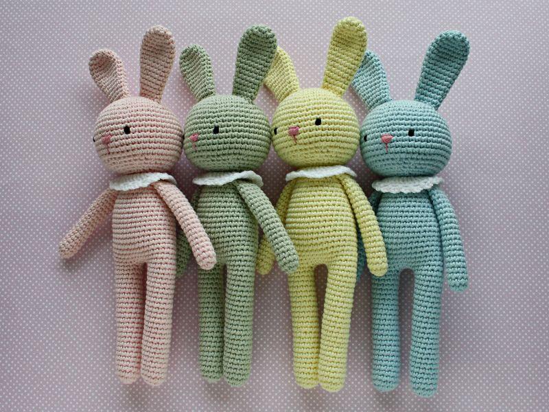 Kleinesbild - Häkeltier Kuscheltier Häkelhase Amigurumi aus Bio-Baumwolle rosa Handarbeit  Babygeschenk