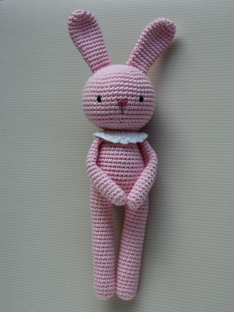 - Häkeltier Kuscheltier Häkelhase Amigurumi aus Bio-Baumwolle rosa Handarbeit  Babygeschenk - Häkeltier Kuscheltier Häkelhase Amigurumi aus Bio-Baumwolle rosa Handarbeit  Babygeschenk