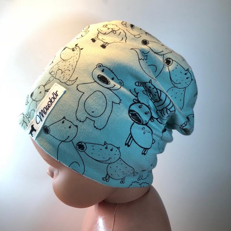- Beanie, Kindermütze,  Mütze, 50- 53 cm, doppellagig, von Mausbär - Beanie, Kindermütze,  Mütze, 50- 53 cm, doppellagig, von Mausbär