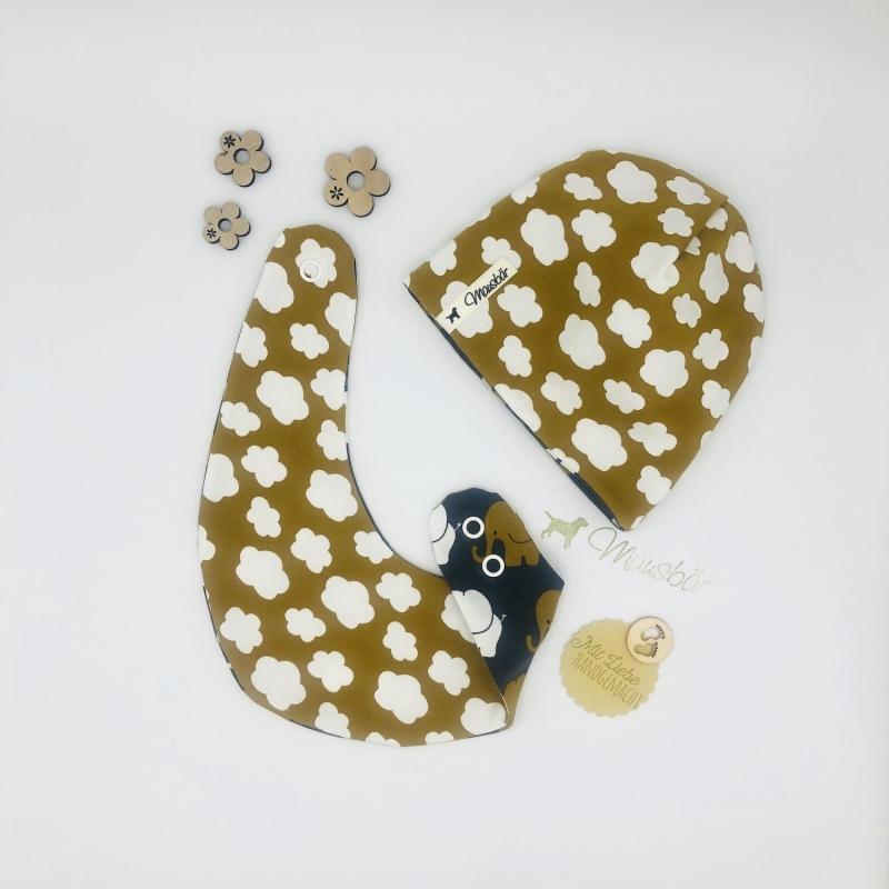 - Zweiteiliges Neugeborenen Set , Halstuch + Mütze für Baby KU 34-38 cm von Mausbär - Zweiteiliges Neugeborenen Set , Halstuch + Mütze für Baby KU 34-38 cm von Mausbär