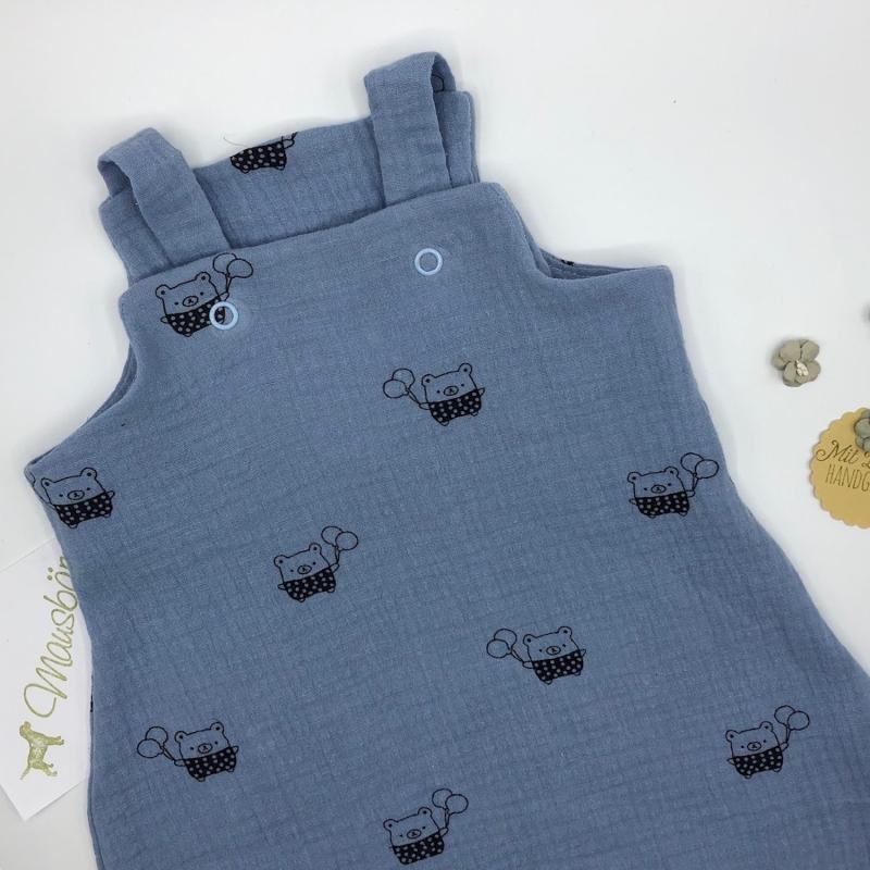 Kleinesbild - Latzhose, Jumpsuit, Babydress, Jumper, Happy Bär, hellblau, Größe 56/62 von Mausbär