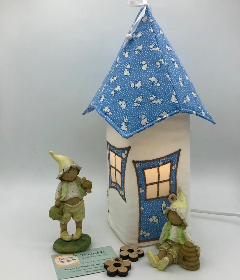 Kleinesbild - Nachtlicht, Kinderzimmerlampe, Tischleuchte, Kinderlampe , Lampe Häschen blau, inkl.Glasleuchte, von Mausbär
