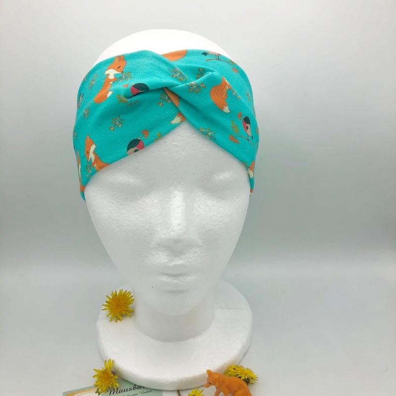 Kleinesbild - Stirnband, KU 48 -53 cm, Haarband, Bandeau, Boho-Stirnband, türkis