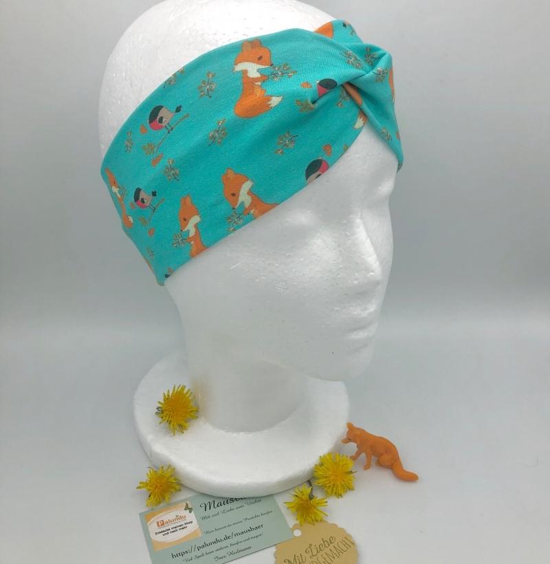 Kleinesbild - Stirnband, KU 46 - 50 cm, Haarband, Bandeau, Boho-Stirnband, türkis