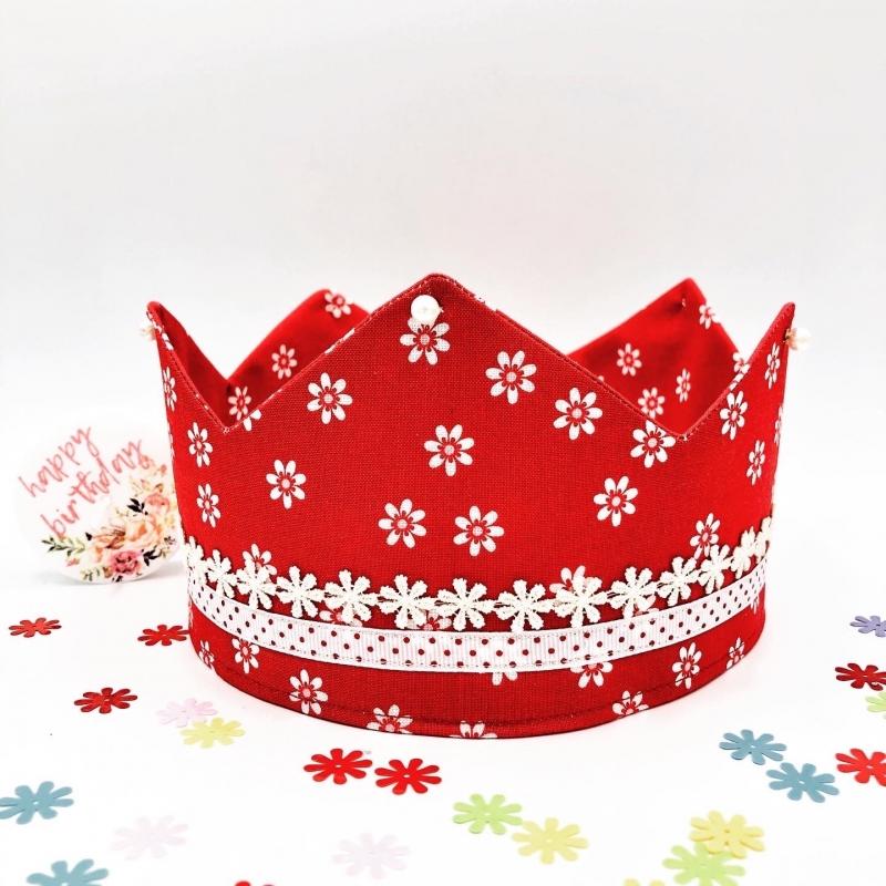 Kleinesbild - Geburtstagskrone, Krone, rot, geblümt, größenverstellbar, von Mausbär