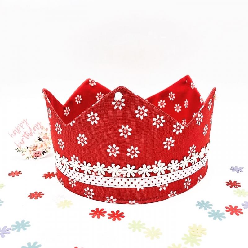 - Geburtstagskrone, Krone, rot, geblümt, größenverstellbar, von Mausbär - Geburtstagskrone, Krone, rot, geblümt, größenverstellbar, von Mausbär