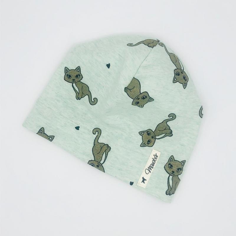 - Mütze, Beanie , einlagig, Sommermütze, Glitzer Katze, KU 41 - 43 cm, von Mausbär - Mütze, Beanie , einlagig, Sommermütze, Glitzer Katze, KU 41 - 43 cm, von Mausbär