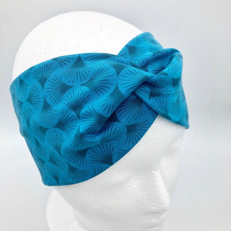 - Stirnband, KU 54 - 57 cm, Haarband, Bandeau, Boho-Stirnband, türkis  - Stirnband, KU 54 - 57 cm, Haarband, Bandeau, Boho-Stirnband, türkis