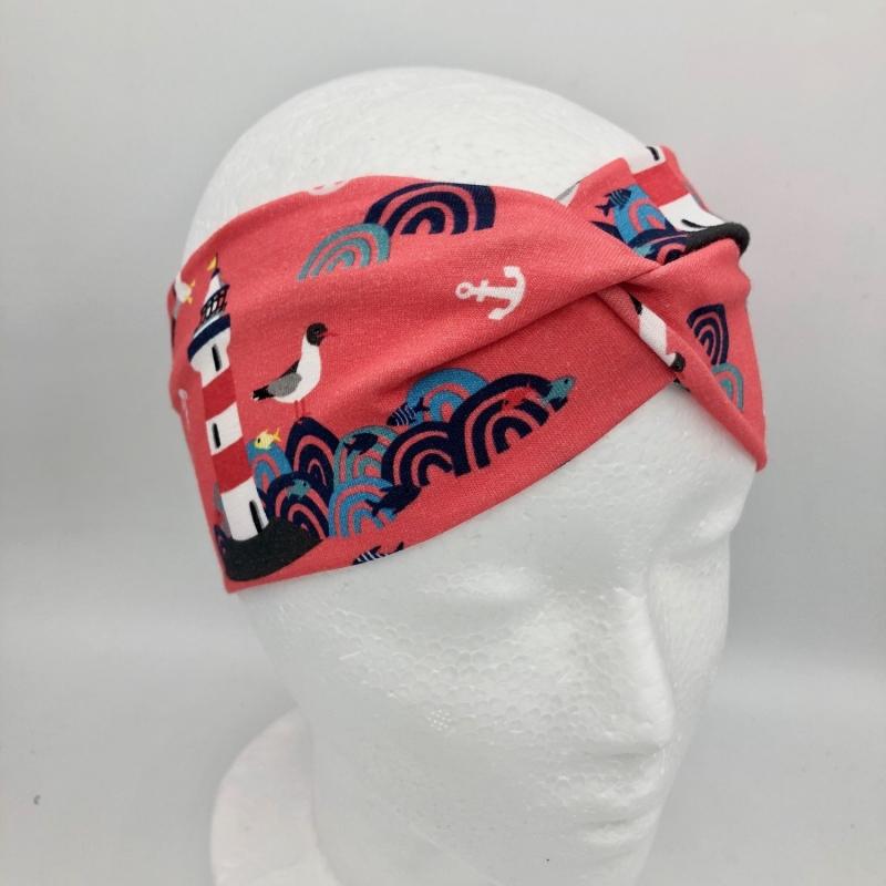 Kleinesbild - Stirnband, KU  50 - 53 cm, Haarband, Bandeau, Boho-Stirnband, rot, Lust auf Meer