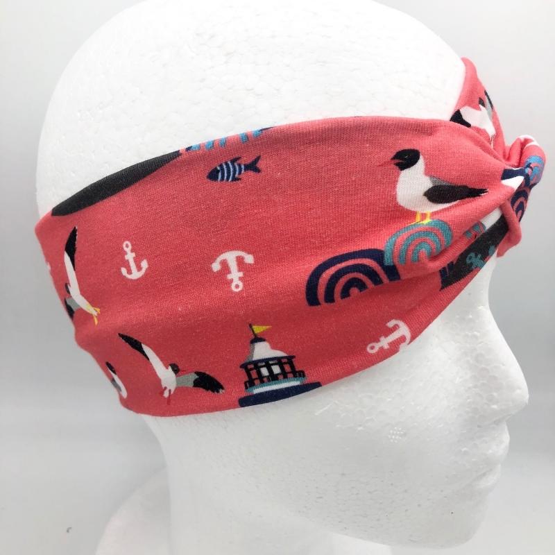 Kleinesbild -  Stirnband, KU 54 -56 cm, Haarband , Bandeau , Boho-Stirnband, rot, Lust auf Meer
