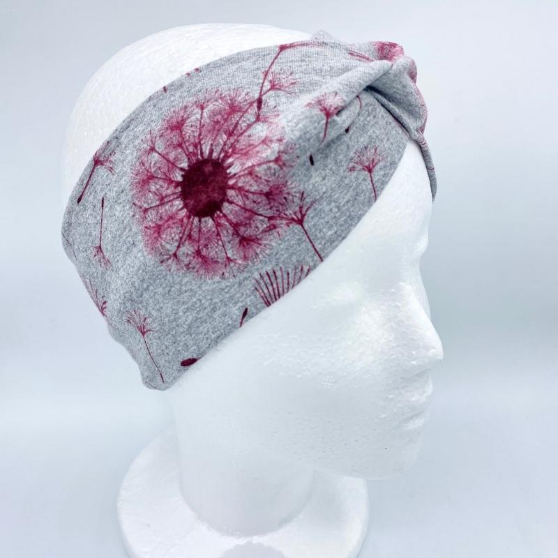 Kleinesbild - Stirnband, Haarband , Bandeau , Boho-Stirnband  54 - 57 cm, grau mit weinroten Pusteblumen