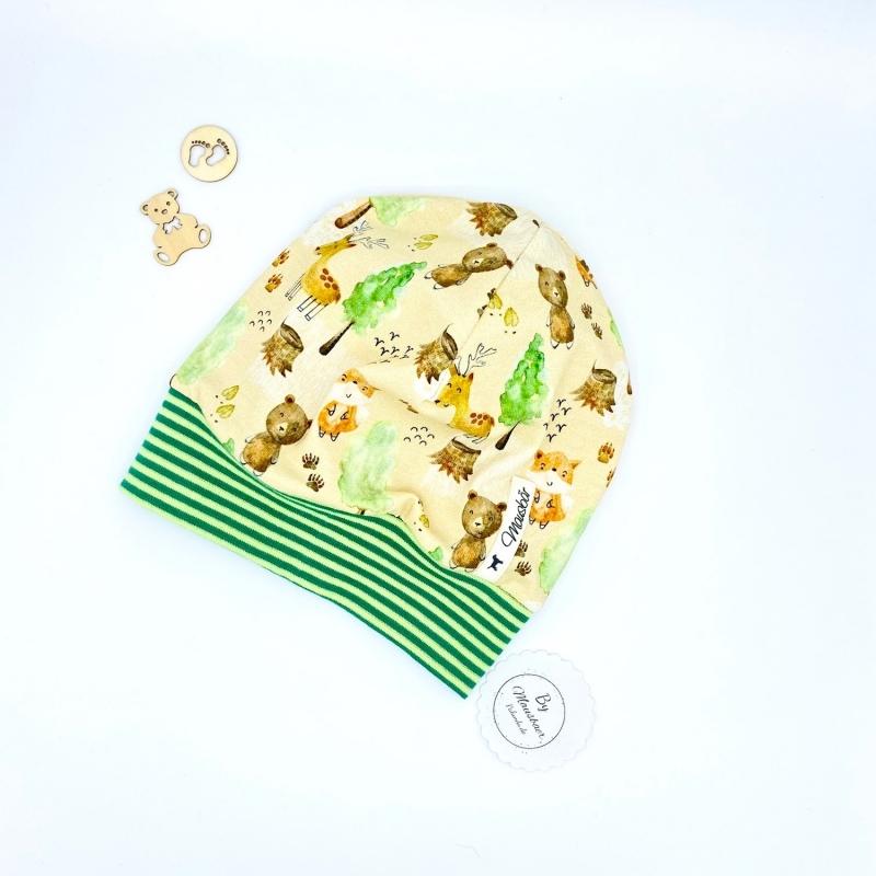 - Mütze, KU 43 - 46 cm, Bündchenmütze, Babymütze , hellgelb, kleine Waldtiere, von Mausbär - Mütze, KU 43 - 46 cm, Bündchenmütze, Babymütze , hellgelb, kleine Waldtiere, von Mausbär