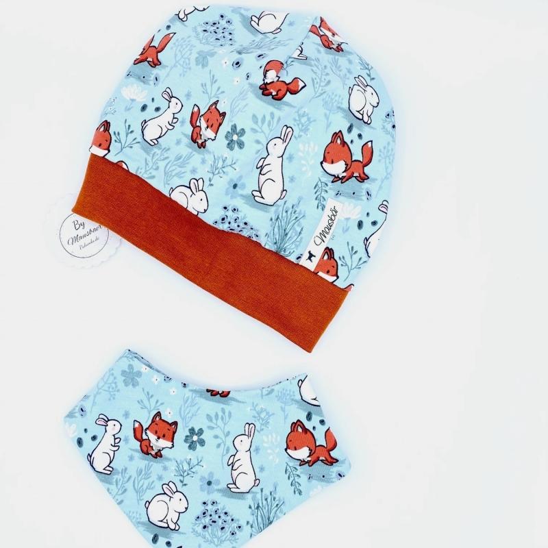 Kleinesbild - Mütze und Tuch, KU 43 - 46 cm, Halstuch + Mütze, mint, für Baby von Mausbär
