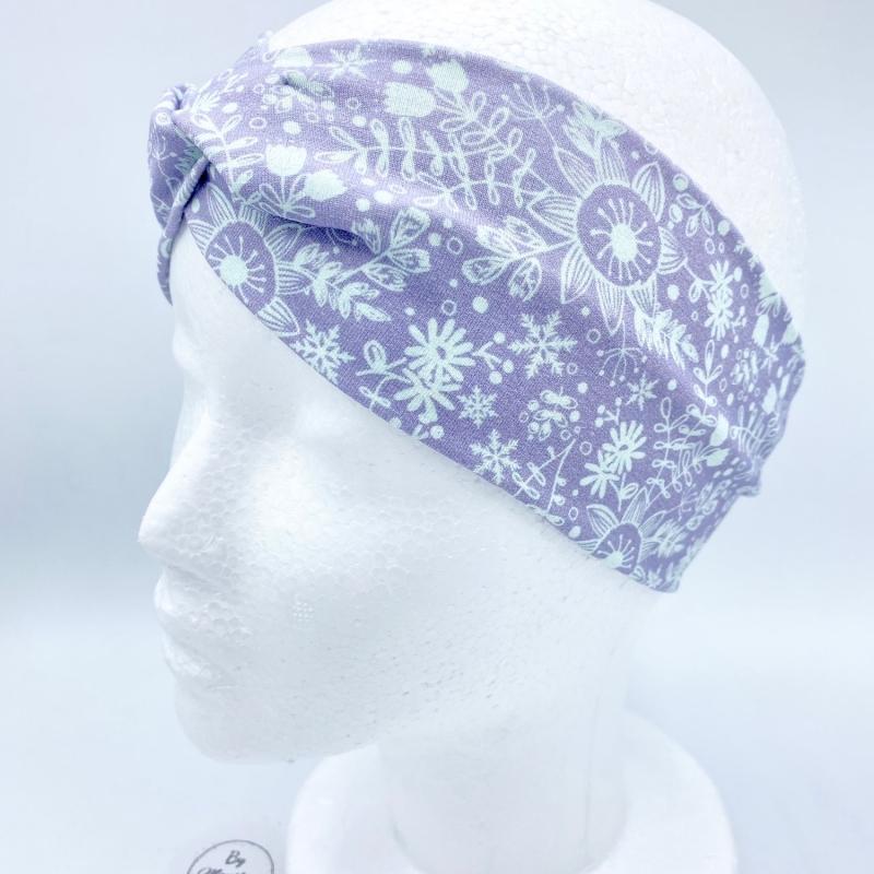 Kleinesbild - Stirnband, KU 54 - 57 cm, Haarband , Bandeau , Boho-Stirnband, pastell mit Eisblumen von Mausbär