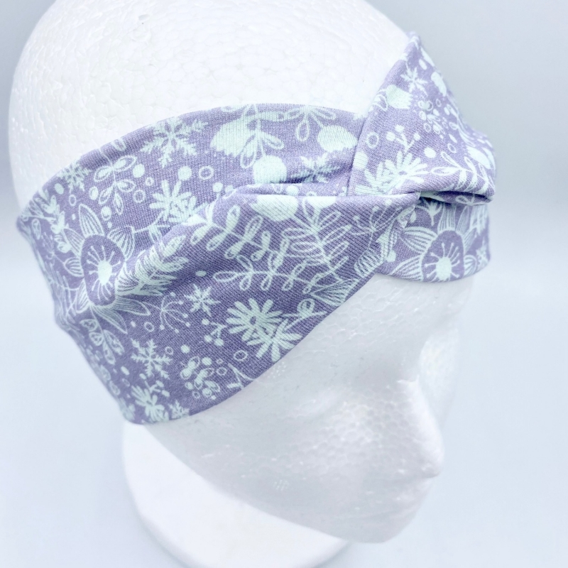 - Stirnband, KU 44 - 46 cm, Haarband, Bandeau, Boho-Stirnband, pastell mit Eisblumen von Mausbär - Stirnband, KU 44 - 46 cm, Haarband, Bandeau, Boho-Stirnband, pastell mit Eisblumen von Mausbär