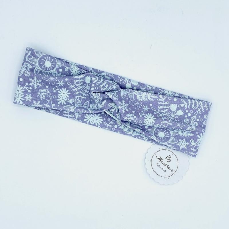- Stirnband, KU 40 - 44 cm, Haarband, Bandeau, Boho-Stirnband, pastell mit Eisblumen von Mausbär - Stirnband, KU 40 - 44 cm, Haarband, Bandeau, Boho-Stirnband, pastell mit Eisblumen von Mausbär