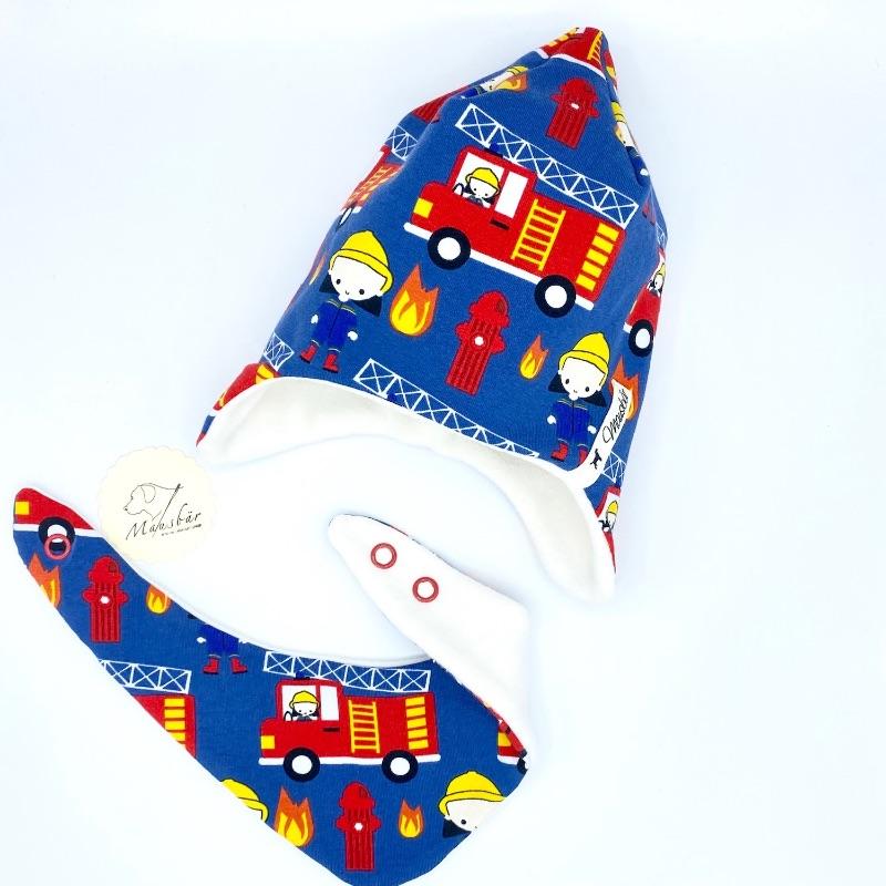 Kleinesbild - Zipfelmützemit Tuch , Zwergenmütze, Babymütze, 39 - 40cm, Feuerwehr, von Mausbär
