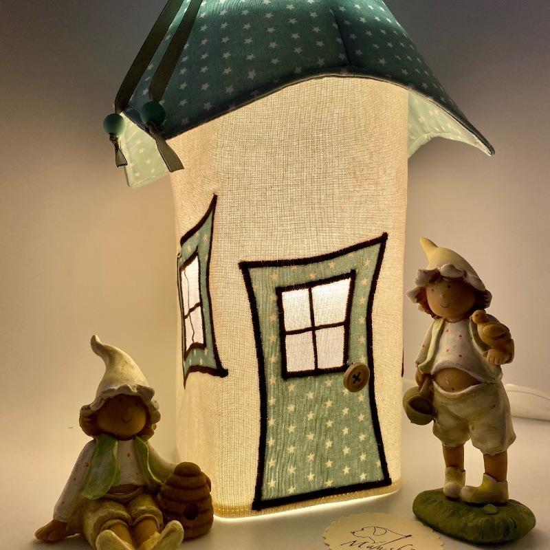 Kleinesbild - Bezug für Nachtlicht, Kinderzimmerlampe, Tischleuchte, Kinderlampe , Wichtelhäuschen, von Mausbär