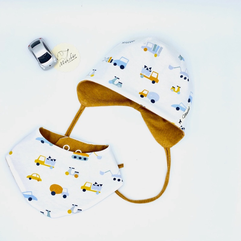 - Mütze + Tuch, KU 38 - 40 cm , Neugeborenen Set, Halstuch + Öhrchenmütze,  von Mausbär - Mütze + Tuch, KU 38 - 40 cm , Neugeborenen Set, Halstuch + Öhrchenmütze,  von Mausbär
