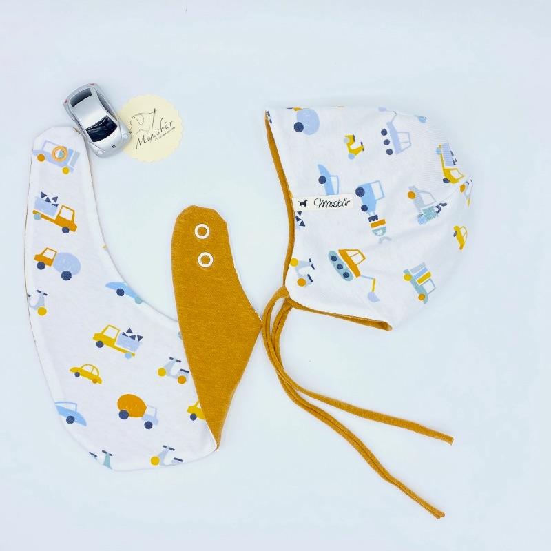 Kleinesbild - Mütze + Tuch, KU 38 - 40 cm , Neugeborenen Set, Halstuch + Öhrchenmütze,  von Mausbär