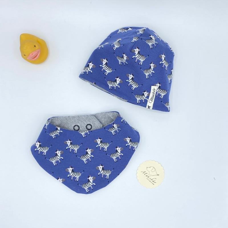 Kleinesbild - Mütze + Tuch, Neugeborenen Set , KU 35 - 38cm ,Halstuch + Beaniemütze ,  blau, von Mausbär