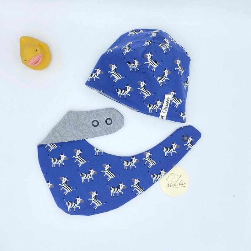 - Mütze + Tuch, Neugeborenen Set , KU 35 - 38cm ,Halstuch + Beaniemütze ,  blau, von Mausbär - Mütze + Tuch, Neugeborenen Set , KU 35 - 38cm ,Halstuch + Beaniemütze ,  blau, von Mausbär